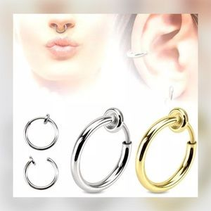 Jewelry - 2 PCS TITANIUM STEEL SPRING CLIP ON NOSE HOOPS